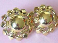 Vintage 1950's CORO gold tone stylized flower signed designer clip on earrings