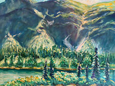"""Mountain Landscape  Hand Painted 8""""x10"""" Oil Painting Unstretched Canvas Art"""