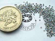 60 x Preciosa 1ss / 4pp Crystal AB silver-foiled chatons