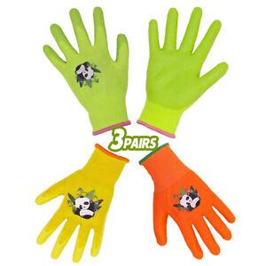 3Pairs Kids Gardening Gloves for Age 2-13 Childrens Girls Boys Garden Gloves