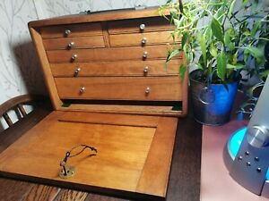 Vintage engineers wooden tool cabinet with 7 draws, lockable with key
