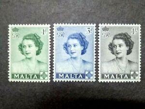 1950 Malta Queen Elizabeth II Royal Visit Complete Set - 3v MLH