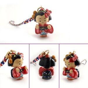 Japanese Netsuke Key Cell Phone Chain Lucky Charm Strap GEISHA Made in Japan