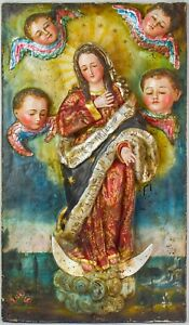 """24"""" Antique Quito School Santos Carved Polychrome Virgin Mary Wall Plaque  - IS2"""