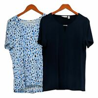 Susan Graver Women's Top Sz M Print and Solid Set Of 2 Liquid Knit Blue A379117
