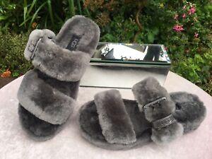 Genuine UGG Australia Grey Fuzz Yeah Sheepskin Slippers Size UK 5