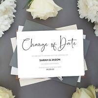 Change of Date Cards, Postponed Wedding Cards, Wedding Date Change Cards