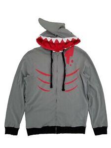 Mens Lightweight Shark Face Costume Zip Hoodie w/ Fin,Shark face hood, XXL