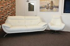 DFS WHITE LEATHER STANDARD 3 SEATER SOFA & ORZO SWIVEL CHAIR