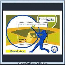 2009 Italia Republica Foglietto Baseball n. 55 Nuovo Integro **