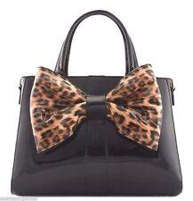 Animal Print Women Handbag Purse Large Bow Faux Patent Leather New