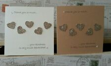 20 x handmade Burlap Hessian Rustic Heart Thank you card Wedding