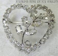"""Vintage 1"""" Clear Stone Heart Flower STERLING SILVER .925 ESTATE BROACH / BROOCH"""