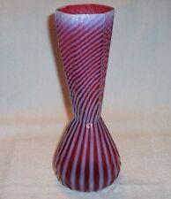 "Fenton Art Glass Cranberry Opalescent Spiral Optic #3261 12"" Tall Vase NICE 1956"