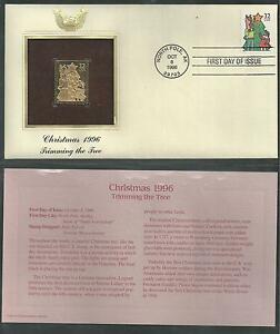 #3108-3111 CHRISTMAS FAMILY SCENES 1996 Gold Foil 4 First Day Covers