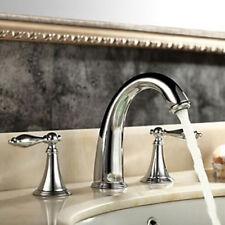 Widespread Bath Basin Faucet Dual Handles Brass Chrome Sink Mixer Tap Deck Mount