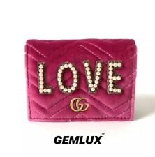 GUCCI Pink GG Marmont Embellished Small Velvet Wallet