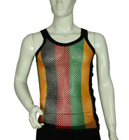 Men's Fitted Rasta Stripe Cotton String Vest Mesh Fishnet Muscle Top Reggae