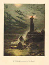 Lighthouse On The Cliff, by H. Eschke, Vintage 1894 German Antique Art Print