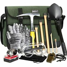 INCLY 15 PCS Geology Rock Pick Hammer Kit, 3 Digging Chisels For Hounding, Gold