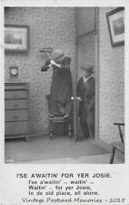 "RPPC WHIMSICAL 1907-14 ""I'se A'Waitin' For Yer Josie"" VINTAGE EARLY REAL PHOTO"