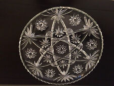 Anchor Hocking  Relish Tray Platter Clear Star of David Design 13-1/2""