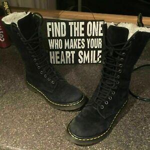 Dr Martens Blair black shearling suede leather boots UK 5 EU 38