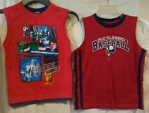 (2) Childrens Place/Star Wars Sleeveless/Muscle Shirts/Tank Tops-Red/Clone-5/6/7