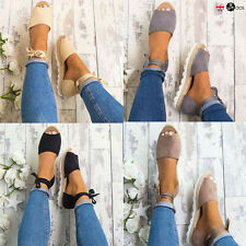 Womens Flat Bandage Espadrilles Summer Chunky Ladies Sandals Open Casual Shoes