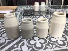 4 x Vintage White Grey Collectable Ink Bottle Pot 3� & 4�