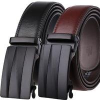 Classic Men's Cow Leather Belt Automatic Buckle Belt Ratchet Strap Jeans Dress