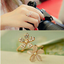 Womens Gold Daisy Flower Crystal Rhinestone Ring Open Adjustable Fashion Jewelry