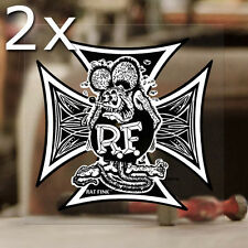 2x pieces Rat Fink Iron Cross Ed Roth sticker decal genuine hot rod MOON large