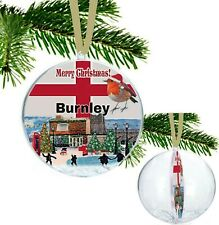 Burnley England Large Christmas Village Scene Bauble with Snowflakes