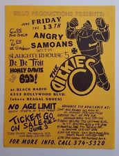 ANGRY SAMOANS/The DICKIES/SLAUGHTERHOUSE 5 Original Show Flyer 1986 PunK HC kbd