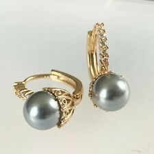 fh Gold Hoop Earrings, Pewter Shell Pearl & Sim Diamonds, 18ct GF, Boxed Plum UK