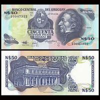 Uruguay 50 Pesos Banknote, ND(1988-1989), P-61A,UNC, America Paper Money