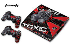 Skin Decal Wrap For PS3 Slim PlayStation 3  Console + Controller Toxicity Red