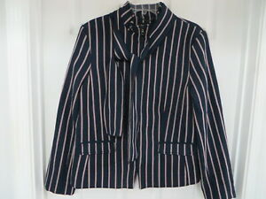 BANANA REPUBLIC Cotton Tweed Striped Full zip Neck Tie  sleeve Blazer 12T