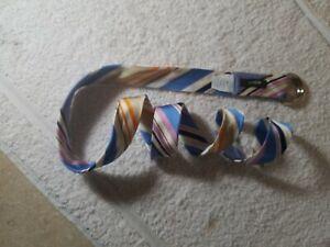 J. Crew - CREAM BLUE PINK striped 100% Silk D ring slide belt, size M/L