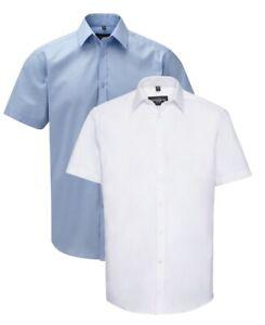 Russell pour Hommes Bleu Ou Blanc Manches Courtes à Chevrons Chemise