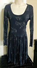 Womens Old Navy Petite Midi Dress Size S Fit Flare Junior A-line Gray Floral