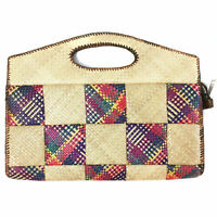 Vintage 1970s Straw Woven Purse Rainbow Huge Clutch Tote Festival Beach Bag 70s