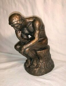 "Vintage 1974 AUSTIN PRODUCTIONS Chalkware THINKING MAN 12"" Statue Bronze Look"