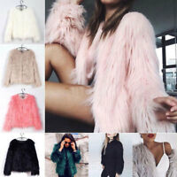 Women Shaggy Fluffy Faux Fur Coat Winter Cardigan Jacket Overcoat Outwear Casual