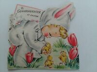 1940-50s Vtg GIRL Bunny Costume Baby Chicks GRANDDAUGHTER EASTER GREETING CARD