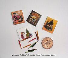 DOLLS HOUSE TOYS: MINIATURE CHILDS COLOURED PENCILS & BOOKS SET