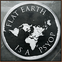 2019 1oz Flat Earth PsyOp PROOF INFOINDCOM #11 999 SILVER SHIELD GROUP SSG 777