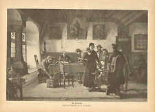 Tax Day, Family Paying Taxes, City Hall, Vintage, 1888 German Antique Art Print