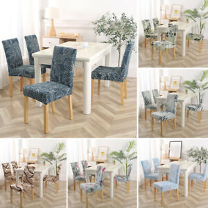 1Pcs Spandex Stretch Dining Chair Cover Floral Printed Seat Slipcover Home Decor